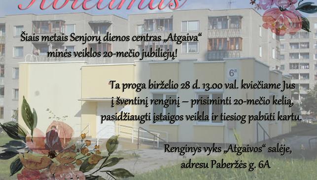 """Senjorų dienos centras ,,Atgaiva"""" minės veiklos 20-mečio jubiliejų!"""
